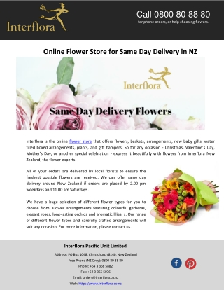 Online Flower Store for Same Day Delivery in NZ