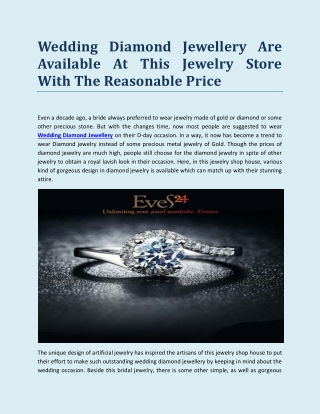 Wedding Diamond Jewellery Are Available At This Jewelry Store With The Reasonable Price