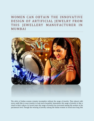 Women Can Obtain The Innovative Design Of Artificial Jewelry From This Jewellery Manufacturer In Mumbai