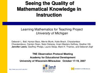 Seeing the Quality of Mathematical Knowledge in Instruction