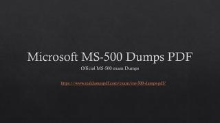 Microsoft MS-500 Dumps PDF ~ Best Preparation Guideline