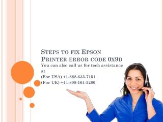 Steps to fix Epson Printer error code 0x9d