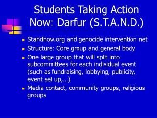 Students Taking Action Now: Darfur (S.T.A.N.D.)