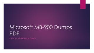 Microsoft MB-900 Dumps PDF 100% Original And Updated
