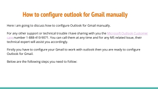 Configure Outlook for Gmail: 1-888-410-9071