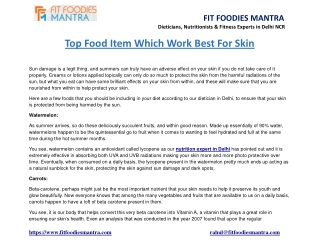 Top food item which work best for skin