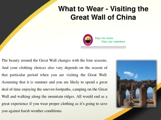 What to Wear - Visiting the Great Wall of China