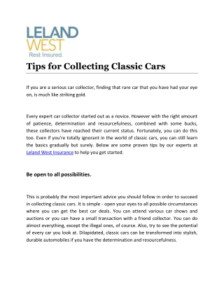 Tips for Collecting Classic Cars