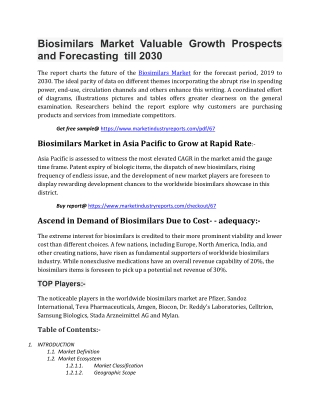 Biosimilars Market Valuable Growth Prospects and Forecasting till 2030