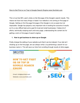 How to Get First or on Top in Google Search Engine www.Sochtek.com