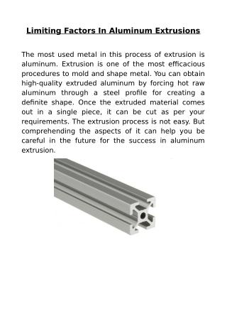 Limiting Factors In Aluminum Extrusions