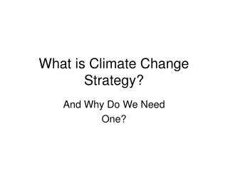 What is Climate Change Strategy?