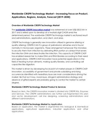Worldwide CRISPR Technology Market – Increasing Focus on Product, Applications, Regions, Analysis, Forecast (2019-2030)