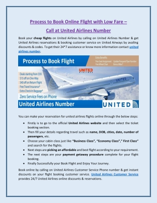 Book Online Flight Reservation at Low Fare - Call us United Airlines Number