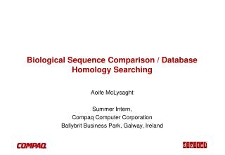 Biological Sequence Comparison / Database Homology Searching