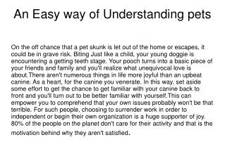 An Easy way of Understanding pets