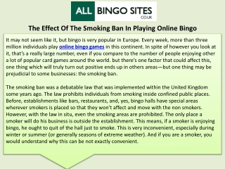 The Effect Of The Smoking Ban In Playing Online Bingo