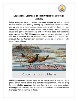 Educational Calendars an Ideal Choice for Your Kids Learning