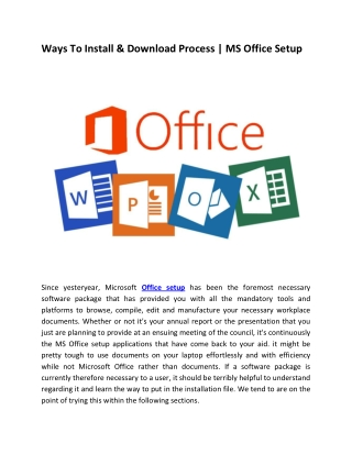 Install | Download | Activate | office.com/setup for Professional work