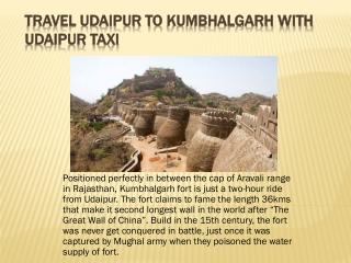 Travel Udaipur to Kumbhalgarh with Udaipur Taxi