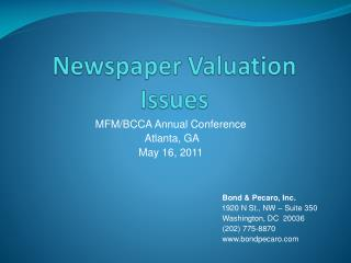 Newspaper Valuation Issues