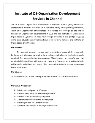 Organization Development Courses in Chennai