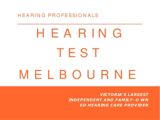 Hearing Test Melbourne | Hearing Professionals
