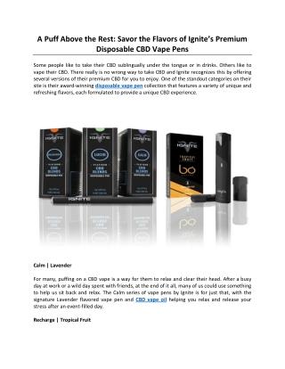 A Puff Above the Rest: Savor the Flavors of Ignite's Premium Disposable CBD Vape Pens