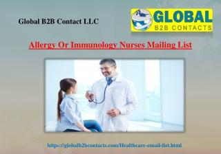Allergy Or Immunology Nurses Mailing List