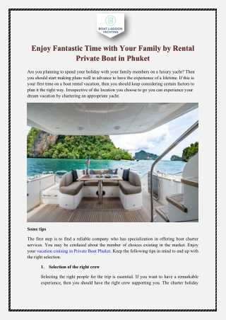 Enjoy Fantastic Time with Your Family by Rental Private Boat in Phuket