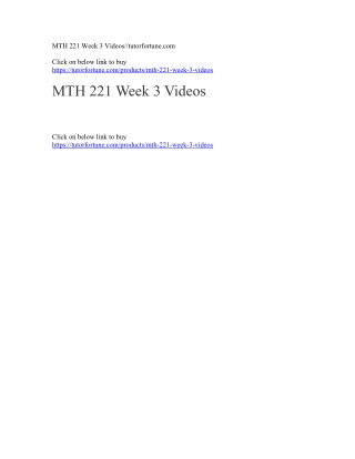 MTH 221 Week 3 Videos//tutorfortune.com