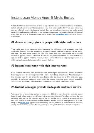 Instant money loan apps