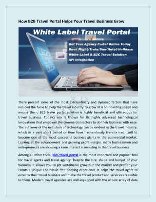 How B2B Travel Portal Helps Your Travel Business Grow