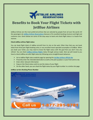 Benefits to Book Your Flight Tickets with JetBlue Airlines