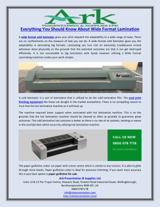 Everything You Should Know About Wide Format Lamination
