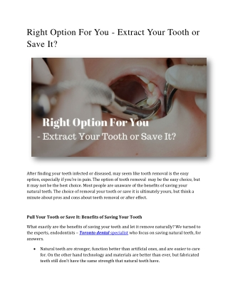 Right Option For You - Extract Your Tooth or Save It?