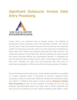 Significant Outsource Invoice Data Entry Processing