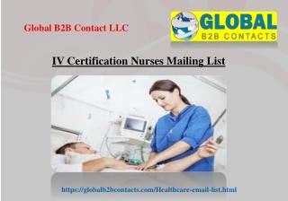 IV Certification Nurses Mailing List
