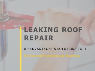 Leaking Roof Repairs - Disadvantages & Solutions to it