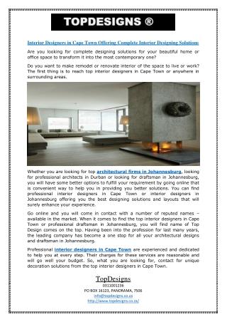 Interior Designers in Cape Town Offering Complete Interior Designing Solutions