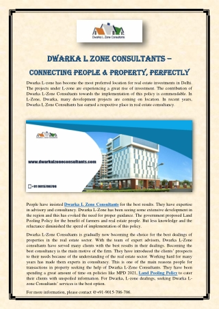Dwarka L Zone Consultants – Connecting People & Property, Perfectly