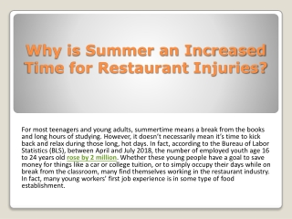Why is Summer an Increased Time for Restaurant Injuries?