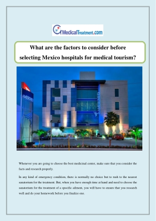 What are the factors to consider before selecting Mexico hospitals for medical tourism?