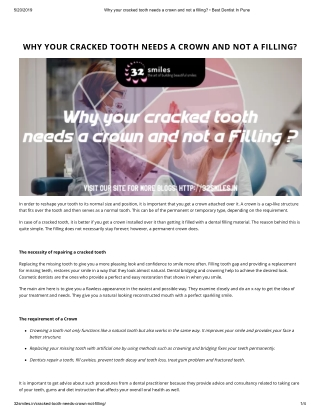 WHY YOUR CRACKED TOOTH NEEDS A CROWN AND NOT A FILLING?
