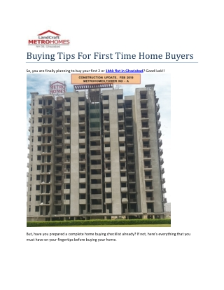 Buying Tips For First Time Home Buyers