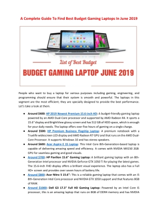 A Complete Guide To Find Best Budget Gaming Laptops In June 2019