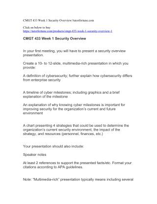 CMGT 433 Week 1 Security Overview//tutorfortune.com