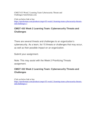 CMGT 433 Week 2 Learning Team Cybersecurity Threats and Challenges//tutorfortune.com