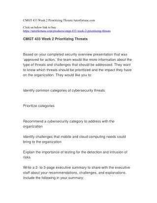 CMGT 433 Week 2 Prioritizing Threats//tutorfortune.com