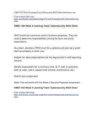 CMGT 433 Week 4 Learning Team Cybersecurity RACI Chart//tutorfortune.com